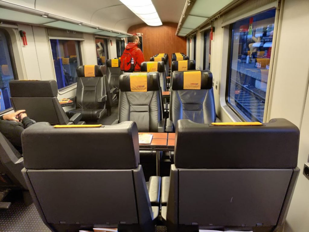 Regio Jet trains, typical business class interior. Comfortable and cheap way to travel in Europe by train.